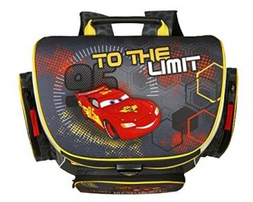 Draufsicht Schulranzen Disney Cars Farben schwarz, rot, gelb
