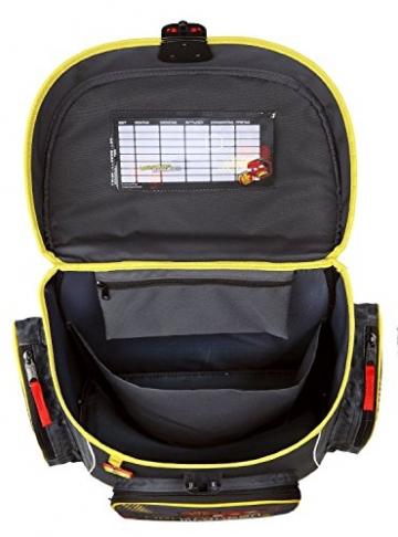Draufsicht Schulranzen Disney Cars, Farben schwarz, rot, gelb