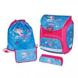 herlitz Sporti Plus mermaidia Schulranzen-Set Mädchen 4-teilig Meerjungfrau (rosa / blau)