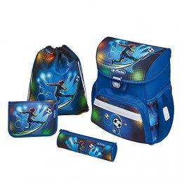 herlitz Loop Plus Schulranzen-Set Soccer Jungen 4-teilig Fussball (blau)