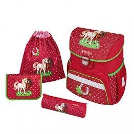 herlitz  Loop Plus Schulranzen-Set Horses Mädchen 4-teilig Pferde / Herzen (rot)